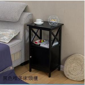 實木帶鎖床頭櫃歐式韓式白色時尚床邊櫃小鬥櫃現代簡約窄櫃子特價 黑色床頭櫃