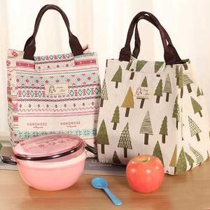 田園棉麻布藝便當保溫手提袋 保溫袋 手提袋 便當袋
