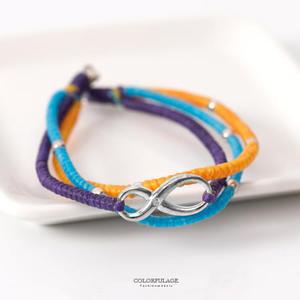 手鍊 925純銀線條感三色蠟繩手工編織祈福手環 細緻甜美單品 柒彩年代【NPA28】水鑽無限符號設計