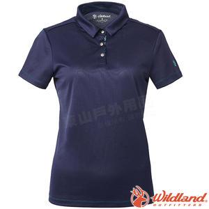Wildland 荒野 0A61603-80藍紫色 女咖啡紗抗菌Polo上衣 抗UV/涼爽散熱/吸濕快乾/POLO衫/團體服
