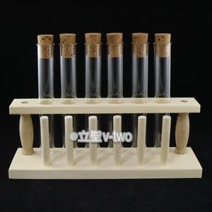 木製試管架組(6孔6柱+試管20mm*150mm@6支+6個軟木塞)  玻璃試管 木製雙層試管架 不鏽鋼試管架