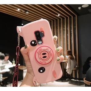 送掛繩 三星 A7 A9 2018 手機殼 軟硅膠 豬鼻子 照相機 創意 可愛 防摔 全包 支架 可斜跨 保護殼 軟殼