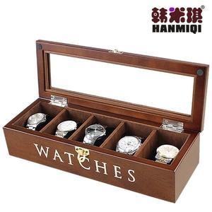 韓米琪木質手表飾品收納盒手鐲手鐲文玩收藏盒包絨手表盒【超低價狂促】