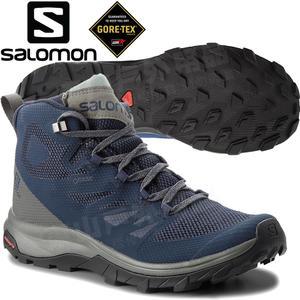 Salomon 404764古藍/灰綠 OUTline Mid GTX男中筒登山鞋 Gore-Tex健行鞋