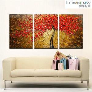 壁畫純手繪油畫客廳沙發背景牆壁畫掛畫立體畫裝飾畫臥室三聯畫WY【免運 快速出貨】
