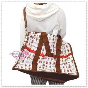 ♥小花花日本精品♥ Hello Kitty Rilakkuma拉拉熊懶熊樂隊手提袋旅行袋肩背包 49608001
