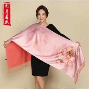 上海故事絲巾女士秋冬季長款緞面雙層披肩旗袍搭配媽媽長輩圍巾脖