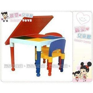 麗嬰兒童玩具館~百貨專櫃-新款方形積木桌(一桌二椅)-適用於樂高積木板好收納