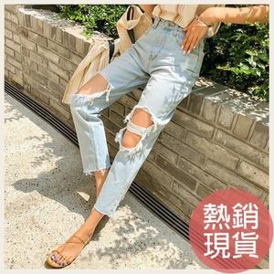 ✦Styleon✦正韓。個性破壞感牛仔褲寬褲長褲。韓國連線。韓國空運。0704。現貨淺青S