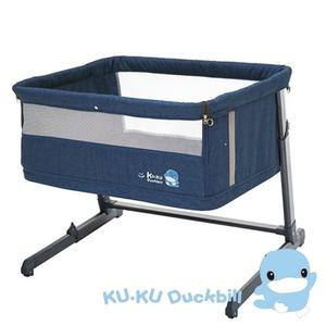 酷咕鴨 KUKU 北歐成長型床邊床/嬰兒床/遊戲床-牛仔藍