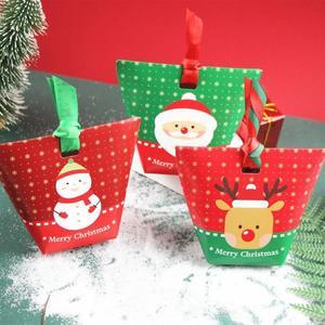 【BlueCat】聖誕節滿雪花紅綠雙色老人雪人麋鹿水餃包裝紙盒 餅乾盒