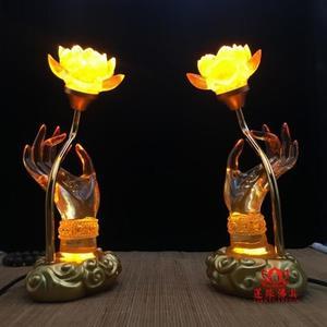蓮花燈-琉璃燈供佛七彩佛手蓮花燈佛供燈佛燈供燈LED長明燈供花佛前花jyLG-100948
