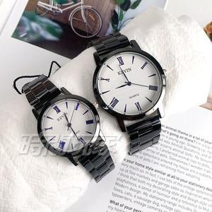 KEVIN 羅馬數字時刻情人對錶 情侶 學院風 男錶+女錶 防水手錶 學生錶 黑 KV2280羅白大+KV2280羅白小