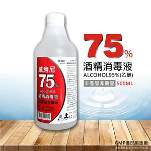 威肯尼 75%酒精消毒液 乾洗手 500ml 加贈噴頭 非藥品 現貨