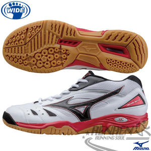 MIZUNO 美津濃 寬楦羽球鞋 WAVE GATE 2 (白*黑*紅) 男女同款 71GA154009