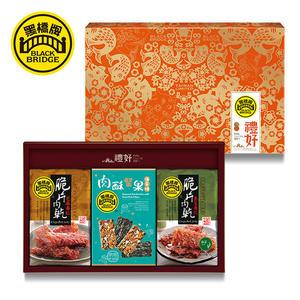 《免運》【黑橋牌】脆片肉乾海苔燒免運禮盒(原味+海苔)