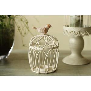 歐式白色鐵藝小鳥籠蠟燭台- niao007