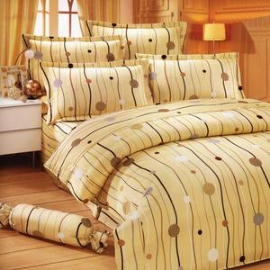 台灣製-跳動的音符 單人(3.5x6.2呎)五件式鋪棉床罩組-米黃色[艾莉絲-貝倫]T5H-KF2507YL-S