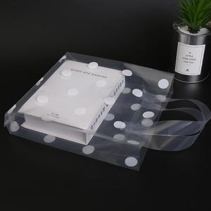 加厚透明波點豎版服裝店塑膠手提袋化妝品袋子禮品袋購物袋可 朵拉朵