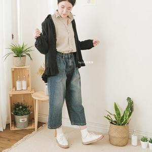 正韓現貨【Ivy's棉麻美學】刷白牛仔寬褲