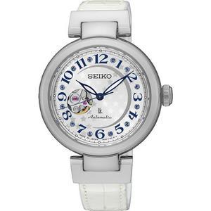 【台南 時代鐘錶 SEIKO】精工 LUKIA 鏤空經典機械錶 SSA825J1@4R38-01L0W 皮帶 銀/白