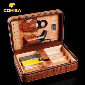 雪茄盒 COHIBA雪茄剪打火機套裝便攜雪茄盒