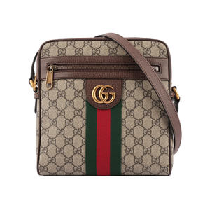 【GUCCI】GG Supreme Ophidia郵差斜背包(小)(綠紅) 547926 96IWT 8745