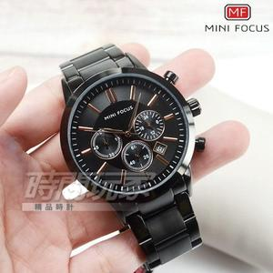MINI FOCUS 真三眼流行男錶 日期視窗 防水手錶 學生錶 IP黑電鍍 MF0188黑