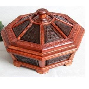 大紅酸枝果盤 紅木糖果盒  交趾黃檀木雕擺件 可拆卸