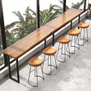 吧台椅實木現代簡約北歐鐵藝創意吧台凳歐式高腳椅酒吧吧台高腳凳【週年慶免運八五折】