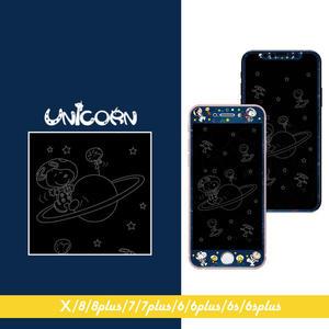 太空史努比星球冒險 滿版顯影玻璃膜 玻璃貼 保護貼 iphone X 8 8plus 7 7plus 6s 6splus【Unicorn手機殼】