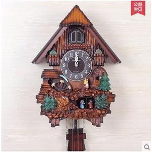 海騰光控音樂報時布穀鳥鐘咕咕鐘錶歐式時尚創意客廳田園掛鐘(人偶款)
