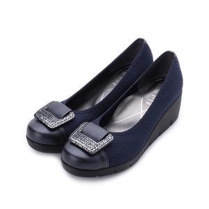 FIRST CONTACT 方釦亮片楔型鞋 藍 39604 女鞋 鞋全家福