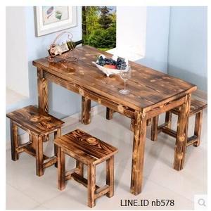 實木碳化快餐桌椅飯店餐桌麵館仿古桌椅戶外燒烤小吃店餐桌椅組合(100*60*73【整套】