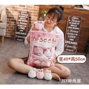日本櫻花兔子一大袋櫻花抱枕仿真零食抱枕布丁玩偶一袋兔子餅公仔qm    JSY時尚屋