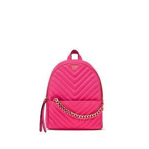 現貨 Victoria's Secret 維多利亞的秘密 V字紋 小型雙肩後背包 (桃紅色)