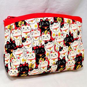 招財貓 拉鍊 零錢包 手拿包 帆布質 日本製