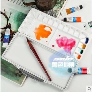 調色盤 水彩調色盒硬蓋保濕便攜大容量顏料盒翻蓋折疊式水粉丙烯國畫顏料美術用調色盤T 1色