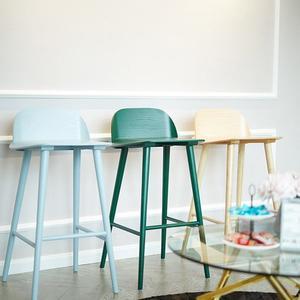 簡約吧台椅家用吧椅北歐吧台凳高腳椅凳高吧椅靠背實木吧台凳xw