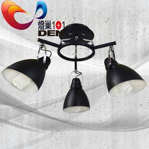 loft工業  黑炫風時尚金屬3燈半吸頂燈【燈巢1+1】燈具。燈飾。Led居家照明。桌立燈 。 03039766