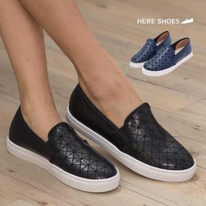 [Here Shoes]2色 皮革質感幾何圖形摺線懶人鞋 鬆緊好穿脫 休閒鞋 ◆MIT台灣製─KI804