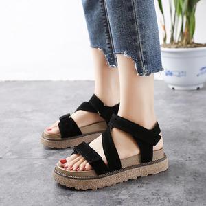 韓版磨砂涼鞋 厚底鞋羅馬魔術貼鬆糕鞋《小師妹》sm872