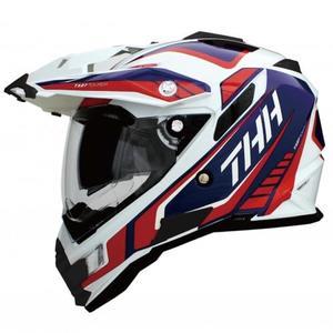 THH TX27 TX27A 全罩 安全帽 越野帽 遮陽鏡片 雙層鏡片 《鋼鐵英雄》白/藍紅 白藍紅(好禮3選1)