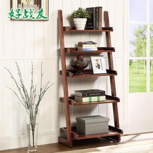美式實木書架 置物架 落地簡易靠牆書架 客廳梯形創意五層架 BLNZ 免運