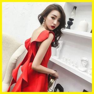 晚禮服裙女洋裝小禮服短款敬酒服紅色連身裙