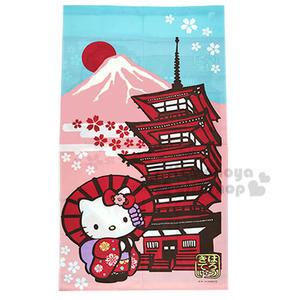 〔小禮堂〕Hello Kitty 日製長門簾《粉.富士山.撐傘.紅和服》85x150cm 4991567-96515