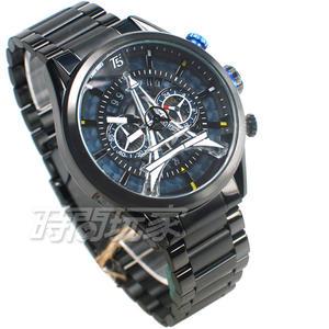 T5 sports time 巴黎鐵塔 三眼計時碼表 個性 型男 防水手錶 日期視窗 男錶 IP黑電鍍 H3664G藍黑