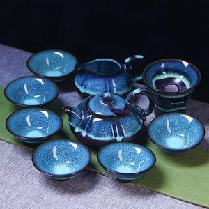 整套陶瓷天目油滴藍珀釉蓋碗功夫茶具窯變建盞套裝品茗杯茶杯茶壺 TW【元氣少女】