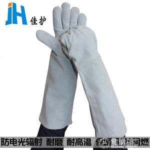 勞工手套佳護 加長本色二層牛皮電焊手套焊工焊接手套耐高溫隔熱耐用手套 電購3C