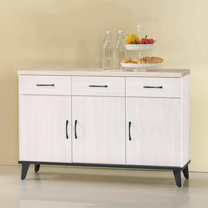 【森可家居】北歐刷白4尺仿石面餐櫃下座 8SB306-2 中島 廚房碗盤收納 木紋質感 MIT 台灣製造